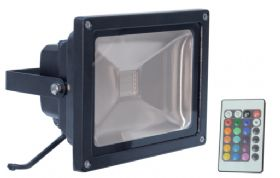 30W Colour Changing LED Flood Light with Wireless controller. Black or white finish.